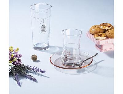 12 parça kafes desenli çay bardağı takımı