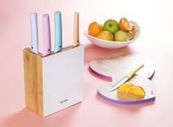 TANTİTONİ - 6 parça renkli l şekilli bambu bloklu bıçak seti (1)