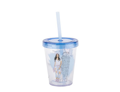 esmer kız desenli pipetli plastik bardak 470ml