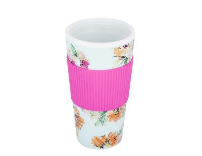 floral desenli silikon tutacaklı plastik kahve termosu 450ml