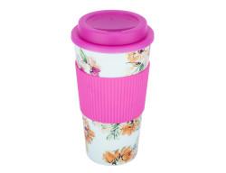 floral desenli silikon tutacaklı plastik kahve termosu 450ml - Thumbnail