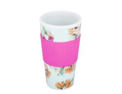 Tantitoni - floral desenli silikon tutacaklı plastik kahve termosu 450ml (1)