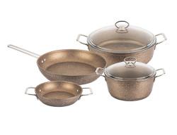 Tantitoni - bronz granıtte 6 parça indüksiyon tabanlı granıt set