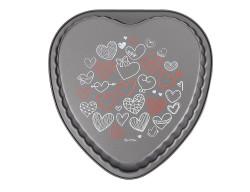 kalp desenli kalp şekilli kek kalıbı 25x25x4.4cm - Thumbnail