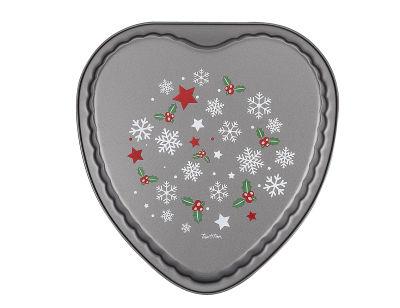 kar tanesi desenli kalp şekilli kek kalıbı 25x25x4.4cm