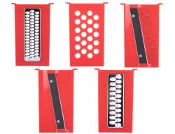 kırmızı kaydırmaz hazneli çok amaçlı doğrayıcı seti - Thumbnail