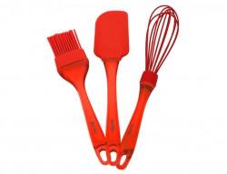 kırmızı renkli silikon 3lü hazırlık seti - Thumbnail