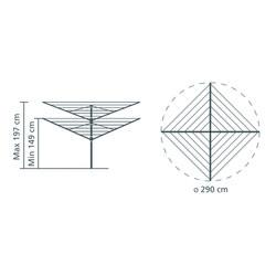 BRABANTIA - METALLIC GREY LIFTOMATIC 4 KOLLU DÖNER ÇAMAŞIR KURUTMA ASKISI 50 M (1)
