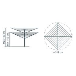 BRABANTIA - METALLIC GREY LIFTOMATIC 4 KOLLU DÖNER ÇAMAŞIR KURUTMA ASKISI 60 M (1)