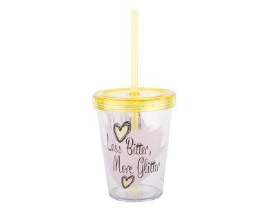 sarışın kız desenli pipetli plastik bardak 470ml
