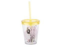 sarışın kız desenli pipetli plastik bardak 470ml - Thumbnail