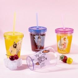 Tantitoni - sarışın kız desenli pipetli plastik bardak 470ml (1)